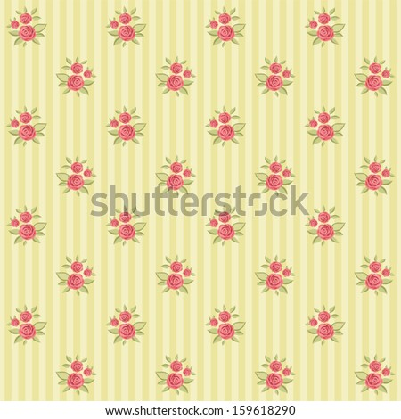 Vintage floral pattern with roses in shabby chic style on striped background - stock vector
