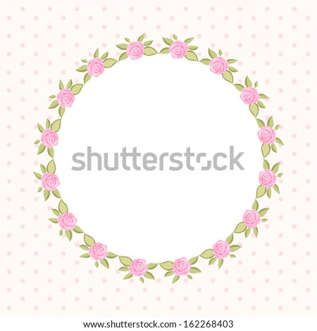 Vintage Floral Round Frame With Roses In Shabby Chic Style