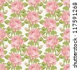 Vintage floral seamless background. Shabby chic rose pattern for scrap booking - stock photo