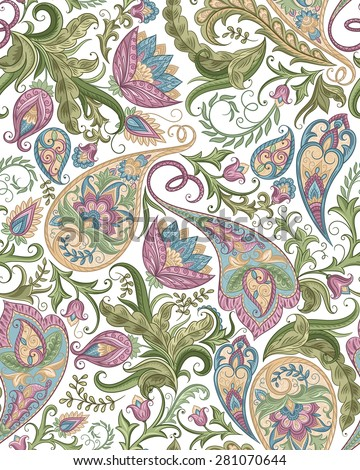 Vintage floral seamless paisley pattern. Traditional persian pickles ornament. Fabric, textile, card background, wrapping paper, wallpaper template. - stock vector