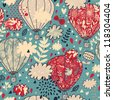 Vintage floral seamless pattern. Cute balloons in retro style - stock vector