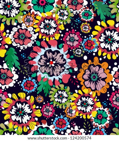 Vintage floral seamless pattern. Vector! Endless floral pattern, tropical flowers pattern, floral pattern - stock vector