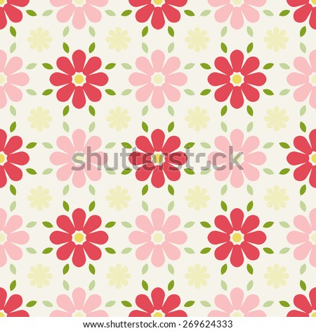 Vintage Floral Seamless Pattern - Vector Illustration