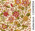 Vintage floral seamless pattern. Vector. Seamless texture with flowers and birds. Endless floral pattern. - stock vector