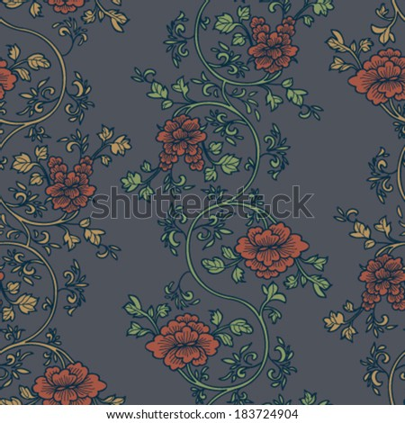 Vintage floral seamless pattern. Vector. Seamless texture with flowers.  Endless retro flower pattern. - stock vector