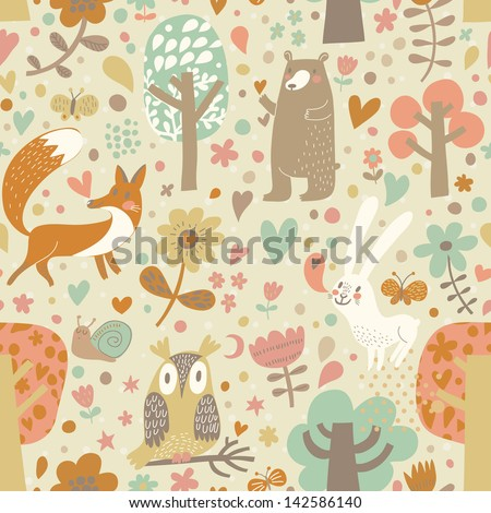 Vintage floral seamless pattern with forest animals: bear, fox, owl, rabbit. Vector background with butterflies, snail, trees and flowers. - stock vector