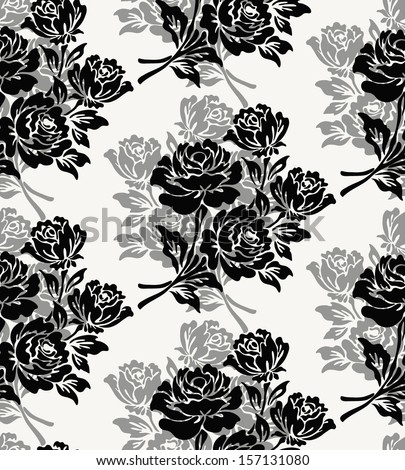 Vintage floral seamless pattern with hand drawn roses - stock vector