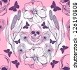 Vintage floral seamless pattern with skull, peacock feather and butterflies /pink. - stock vector