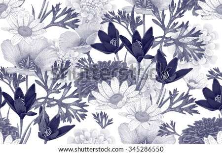 Vintage floral seamless pattern with wild flowers. Vector Illustration on a white background. Floral illustration in vintage style for decoration fabrics, textiles, paper, wallpaper. - stock vector
