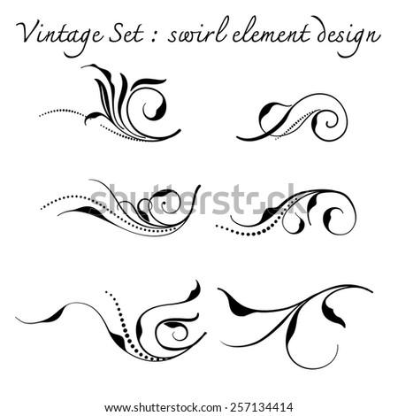vintage floral swirl sec,vector illustration - stock vector