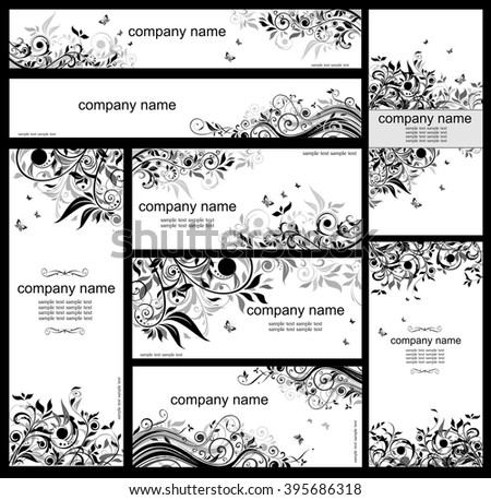 Vintage floral templates (black and whites) - stock vector
