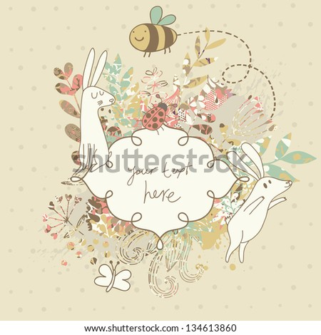 Vintage floral wedding invitation with cute rabbits. Nice vector card. Ideal for any types of invitation in retro style. - stock vector