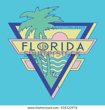 Vintage Florida Surf Typography T Shirt Graphics Vectors