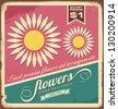 Vintage florist shop sign. Vector flower retro background. - stock vector