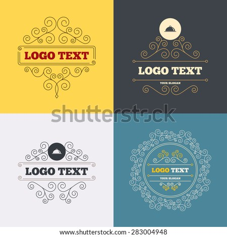 Vintage flourishes calligraphic. Food platter serving sign icon. Table setting in restaurant symbol. Luxury ornament lines. Vector - stock vector