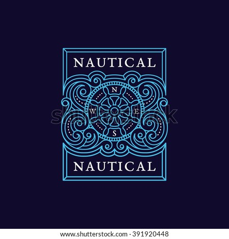 Vintage flourishes ornament label template with steering wheel and directions of the compass in trendy linear style. Vector illustration. - stock vector