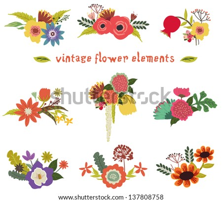 Vintage flower design - stock vector