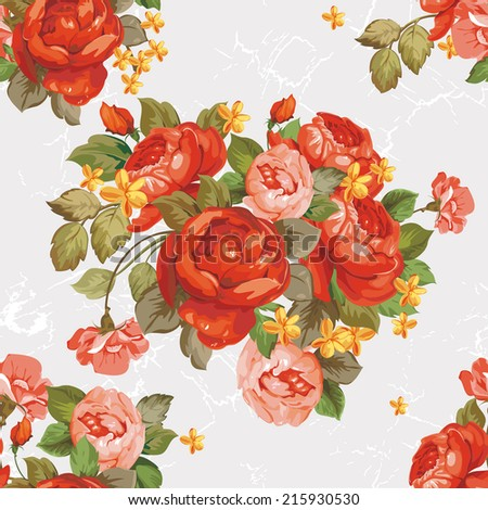 Vintage Flower peonies textured wallpaper. Elegance vector illustration - stock vector