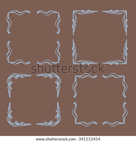 Vintage flower rustic design elements doodle frames