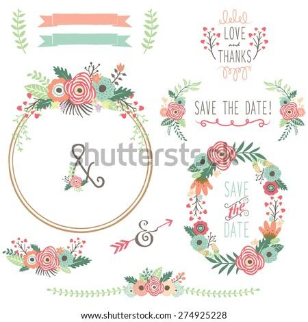 Vintage Flower Wreath - stock vector
