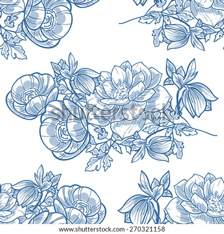 Vintage flowers. Abstract elegance seamless pattern with floral elements. Flower background.