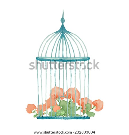 Vintage flowers in cage. Watercolor wedding object. - stock vector