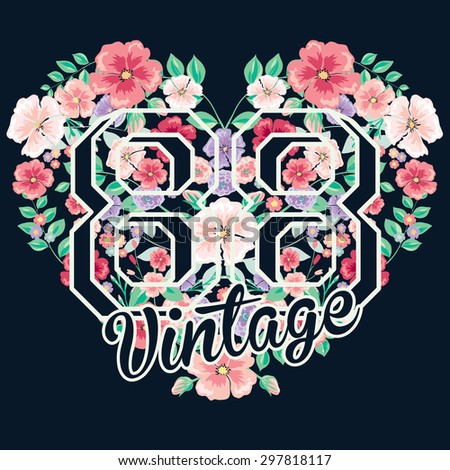 vintage flowers on white background,vector flowers,heart with flowers