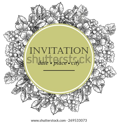 Vintage flowers. Romantic botanical invitation. Greeting card with floral background.