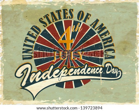 Vintage flyer, poster or background for United Sates America independence day with text 4th July. - stock vector