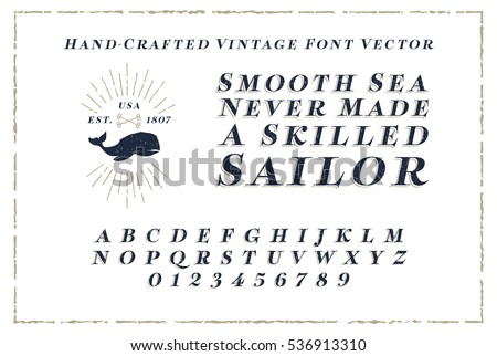 Vintage Font Hand Crafted With Nautical Style Vector Eps