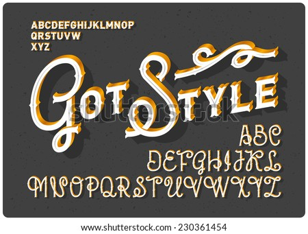 Vintage font set - stock vector