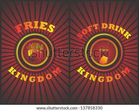 vintage food art fries soft drink - stock vector