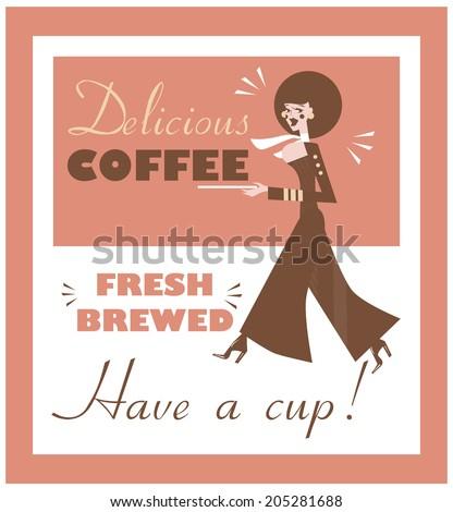 Vintage Food & Drink Poster Print Coffee Vintage sign - Fresh Brewed Coffee clean sign - stock vector