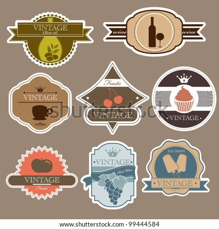 Vintage food labels set - stock vector