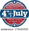 Vintage Fourth of July Independence Day USA Stamp - stock vector