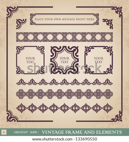 Vintage frame and elements set 6 - stock vector