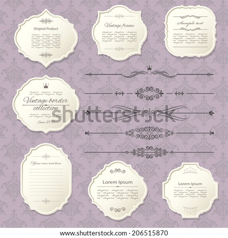 Vintage frame and page decoration set on damask background. Calligraphic design elements. - stock vector