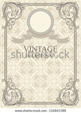 Vintage frame and seamless pattern. - stock vector