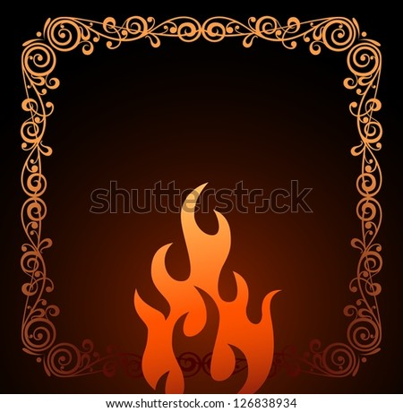 Vintage frame and symbol red fire vector background - stock vector