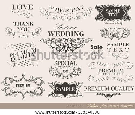 Vintage frame calligraphic design elements and page decoration/ vector set - stock vector