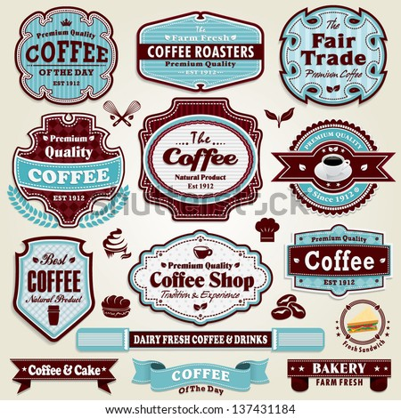Vintage frame Coffee, sandwich, bread, cup label set - stock vector