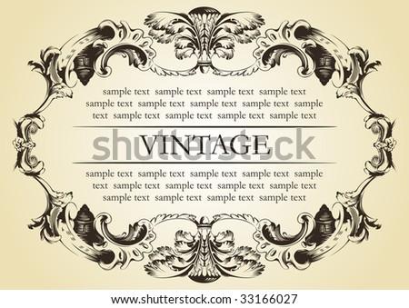 Vintage frame decor ornament vector. Vector calligraphic frame. Baroque ornament and vintage black border. Royal frame. Elegant frame. Book frame. Frame flourish decorative - stock vector