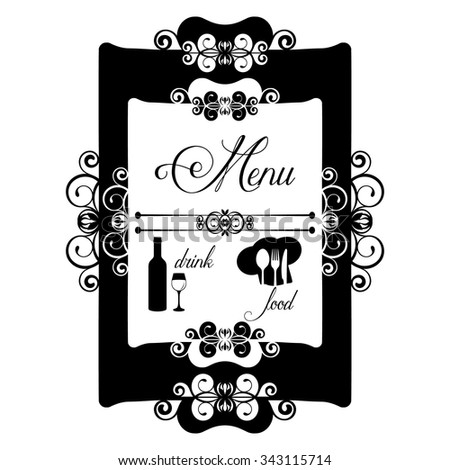 Vintage frame decorated restaurant menu. Isolated object in black on a white background can be assigned any color and any use of images and backgrounds. - stock vector
