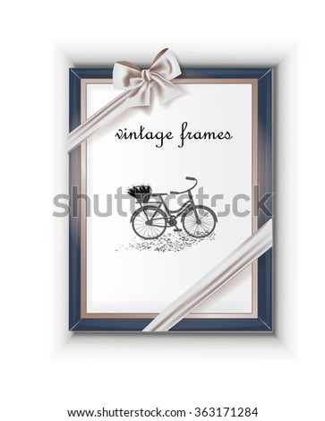 Vintage frame decorated with the bow. Background for photos, drawings , sketch - stock vector
