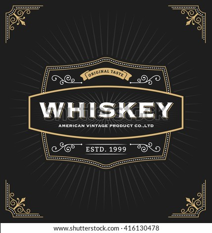 Vintage frame design for labels, banner, logo, emblem, menu, sticker and other design. Suitable for whiskey, beer, coffee shop, hotel, resort and premium product. All type use free font. - stock vector