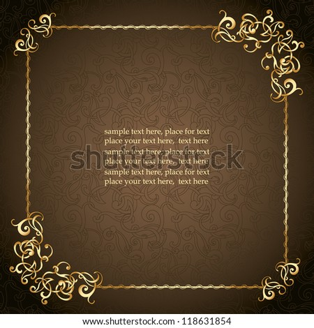 Vintage frame, elegant curves design, seamless abstract background. - stock vector
