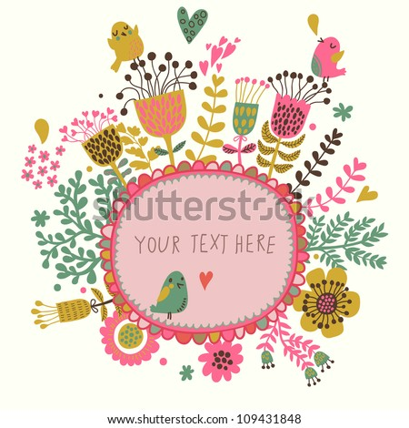 Vintage frame for your design with birds and flowers - stock vector
