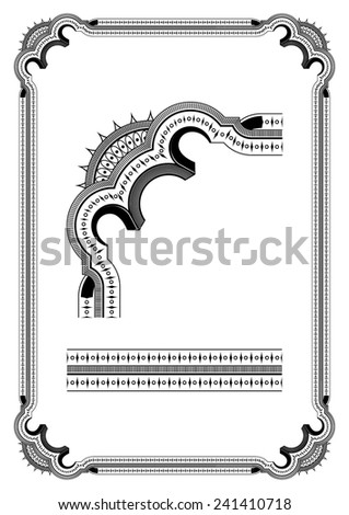 Vintage frame in black on a white background