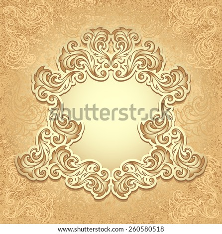 Vintage frame in gold color for invitation or congratulation wedding or Christmas or New Year or for decorate perfumer or cosmetic or for package   - stock vector