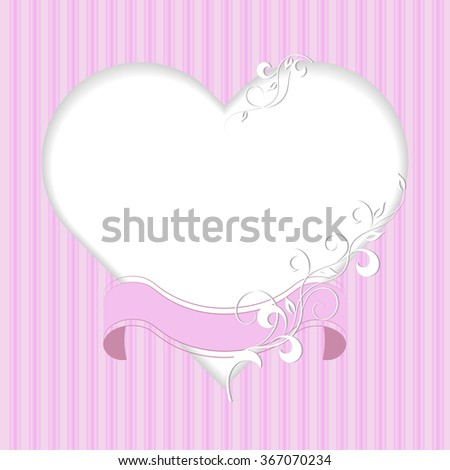 Vintage frame in shape of a heart with ribbon and plant pattern on pink background.